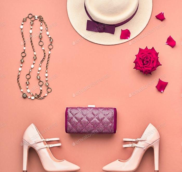 Fashion Lady Accessories Set. Top view. Vintage