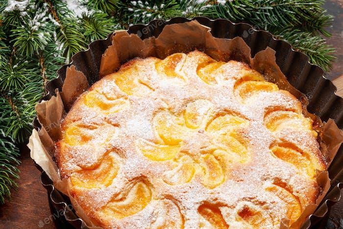 Citrus dessert holiday cake with tangerines