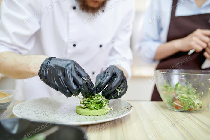 Chef Plating Dishes