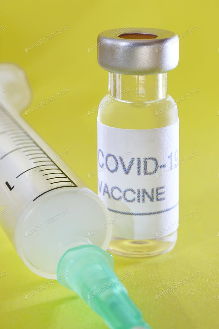 Covid-19 vaccine vial. Coronavirus pandemic infection. Global prevention vaccination
