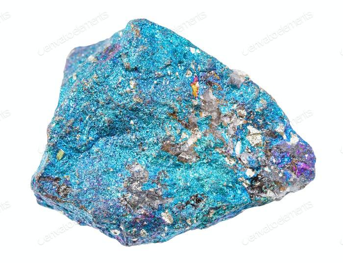 ungeschliffenes blaues Chalcopyritgestein isoliert