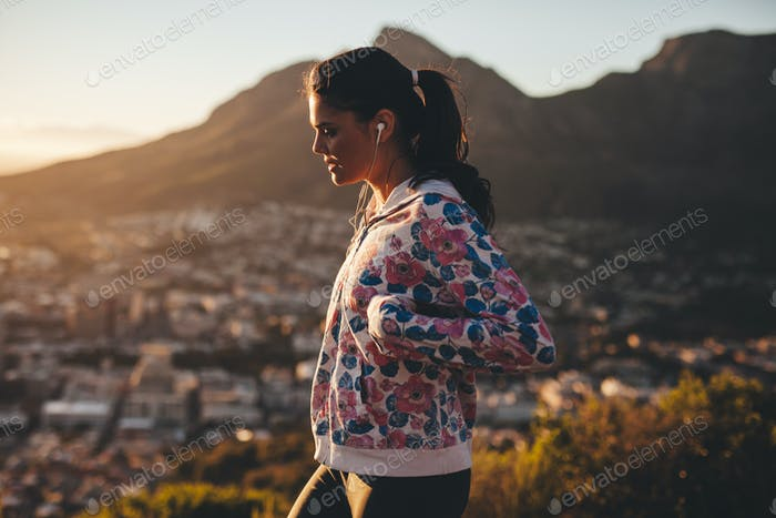 Young woman on morning walk