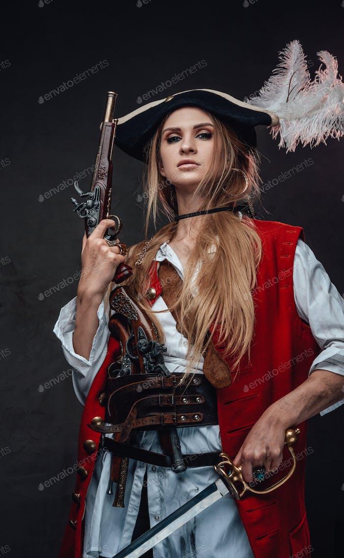 Female mercenary pirate with gun and sword
