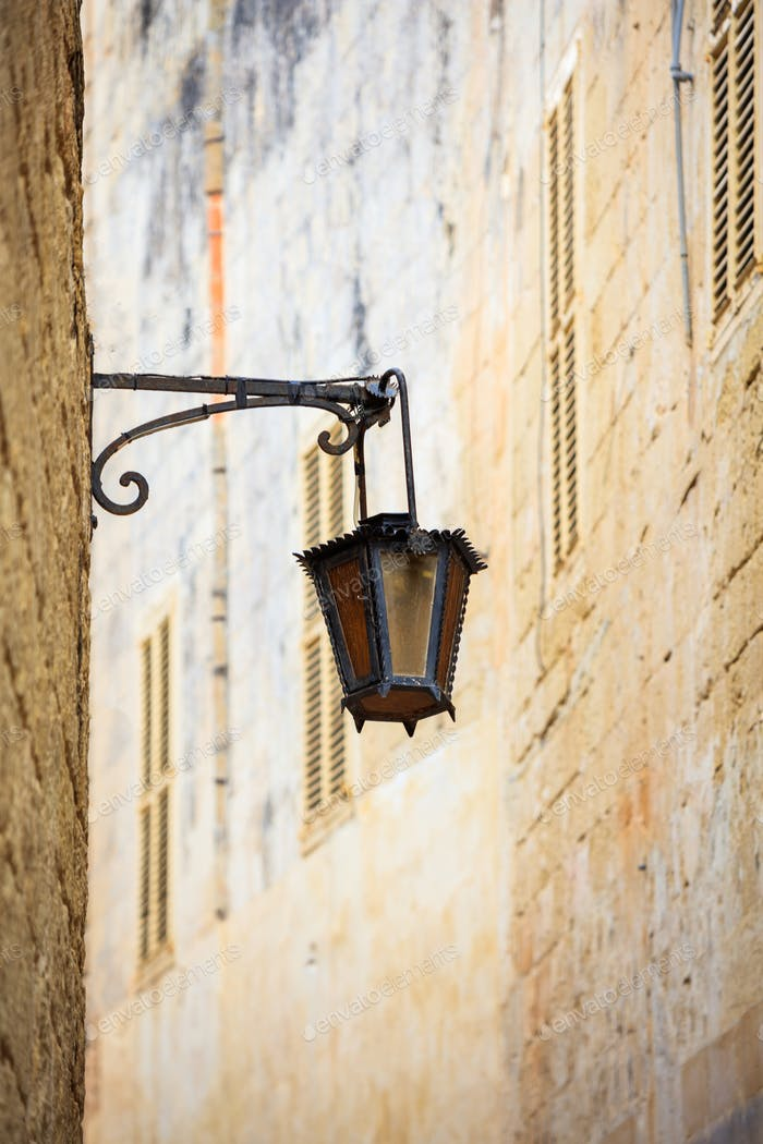 Malta, Mdina. Old lantern lamp in the medieval city