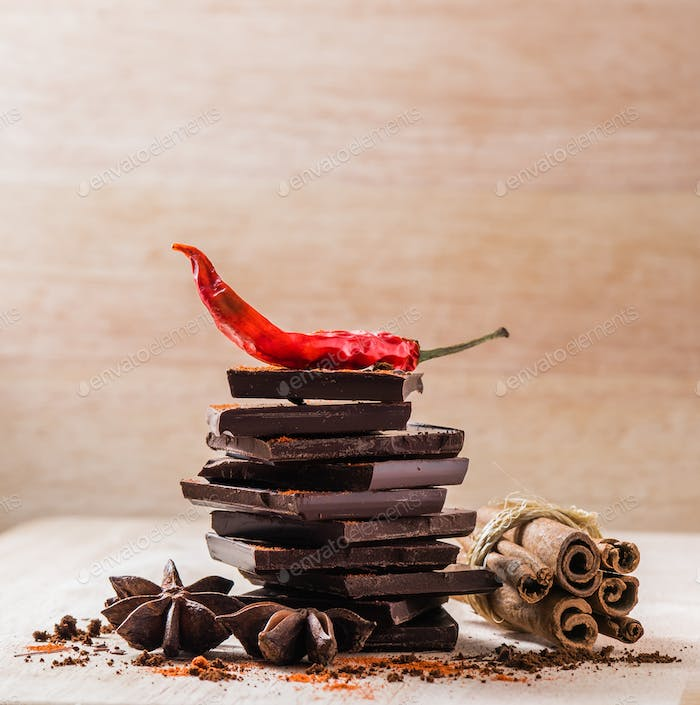Dried Chili Pepper, Chocolate and other Spices