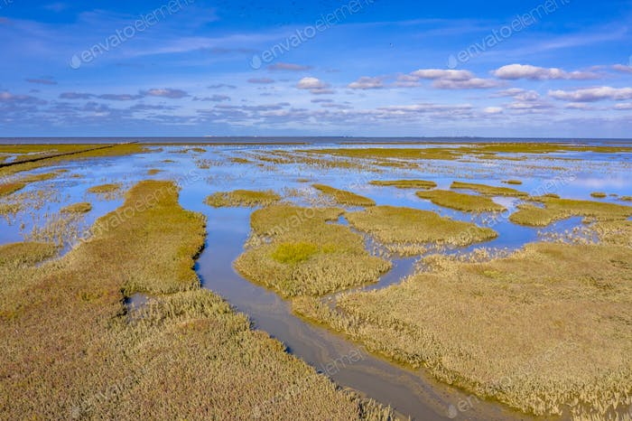 Aerial view Tidal Marshland Waddensea