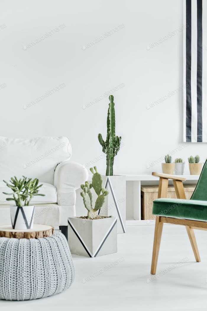 Interior with white furniture