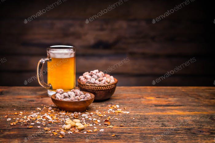 Beer and roasted peanuts