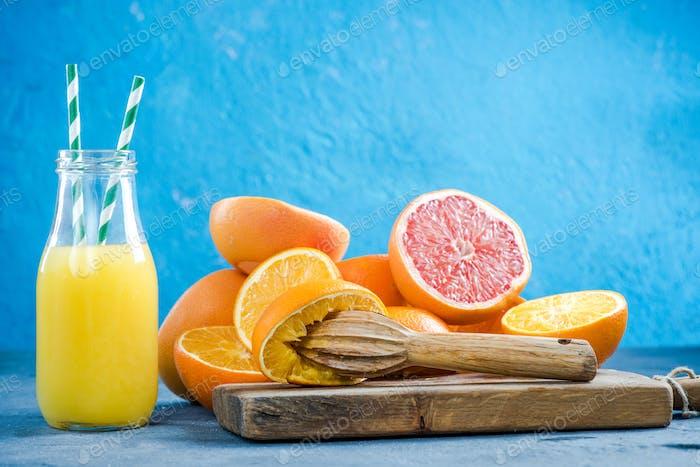 Homemade healthy fresh citrus juice