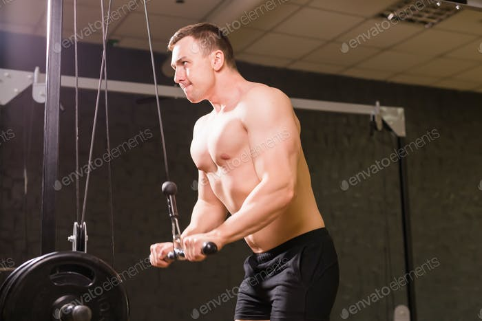 handsome bodybuilder works out excercise in gym