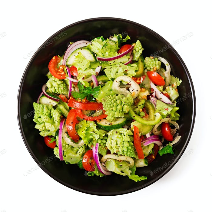 Vegan salad of fresh vegetables and cabbage romanesko