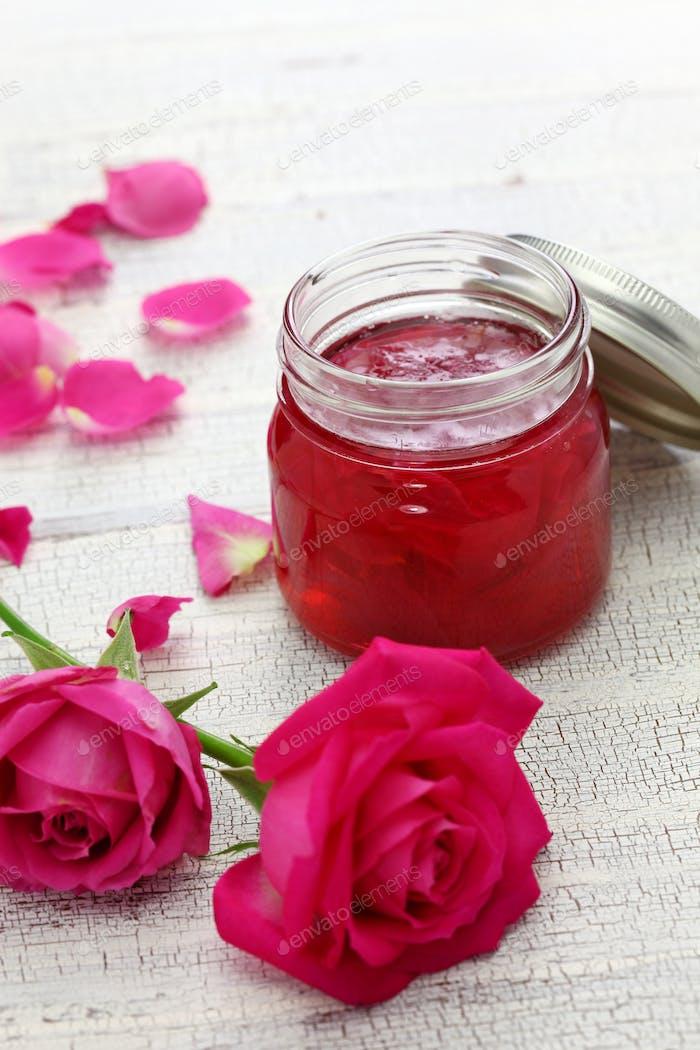 homemade rose petal jam in glass jar