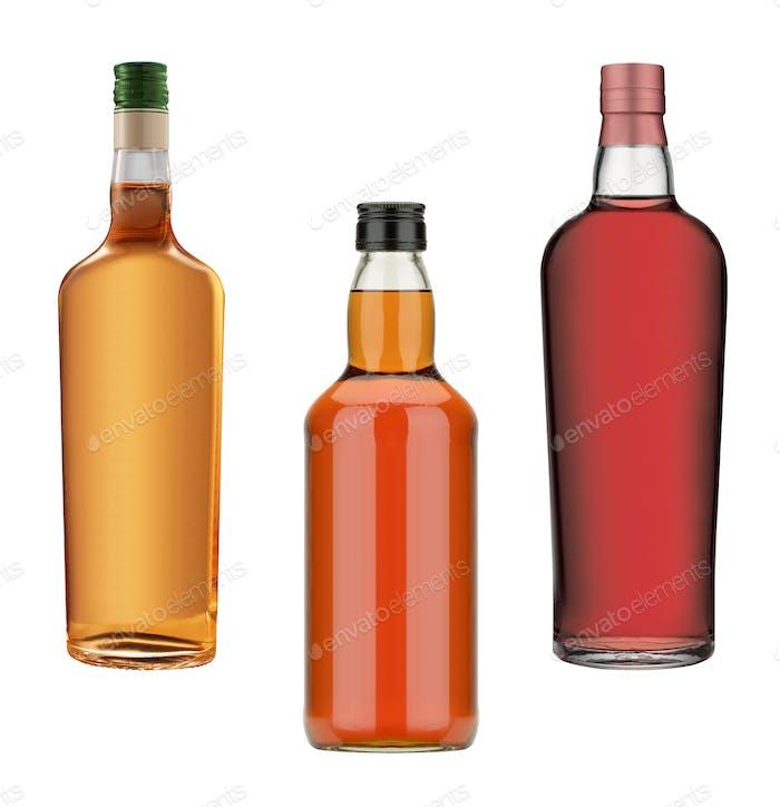 бутылки виски, коньяка и вина
