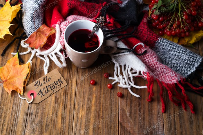 autumn fall concept with knitted blanket and hot tea with berries, autumn leaf on dark wooden