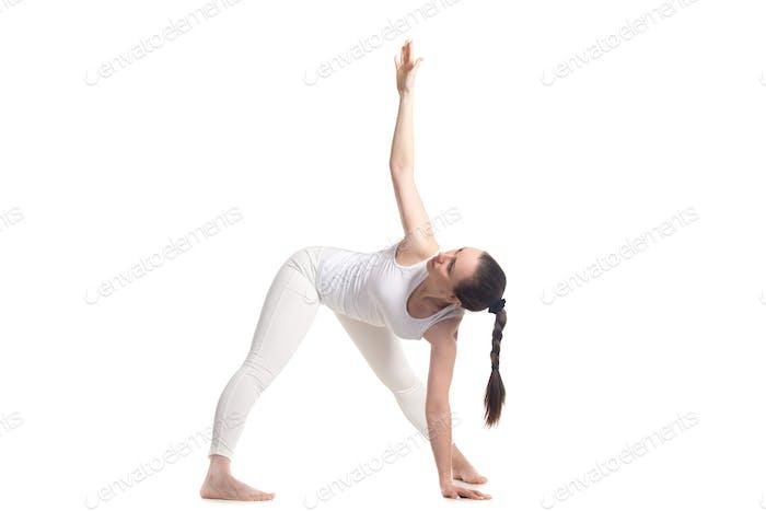 Yogi female doing Yoga trikonasana pose