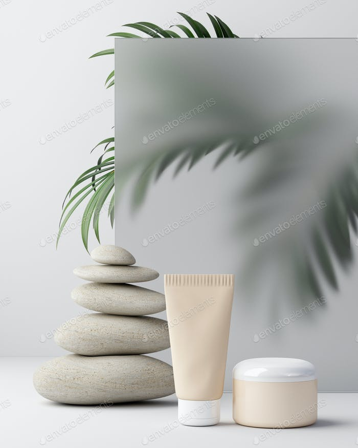 Composition with body cream in jars on light background. Palms. Mock up for product display.