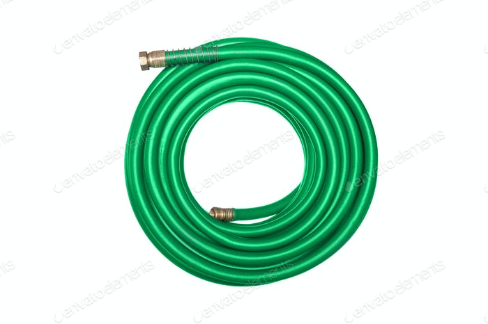 Green hose isolated on white