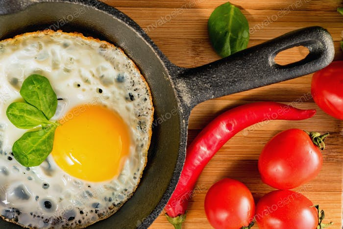 Fried eggs in a frying pan. Rustic breakfast
