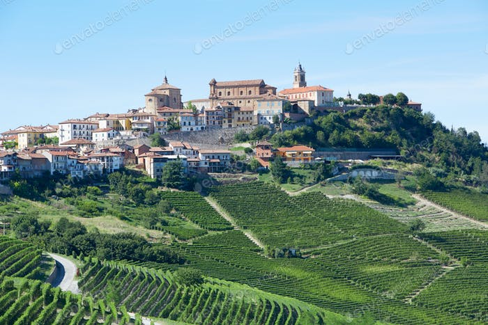 La Morra town in Piedmont, Langhe hills in Italy in a sunny day