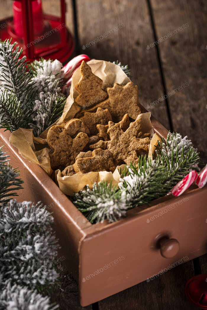 Christmas gingerbread cookies in wooden box