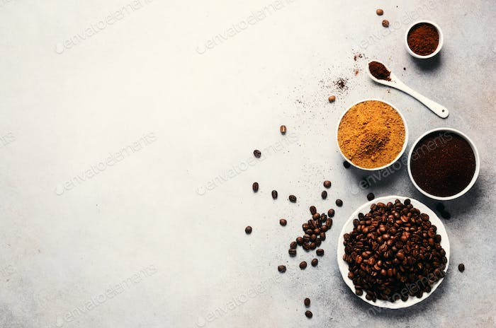 Ingredients for making caffeine drink - brown coconut sugar, coffee beans, ground and instant coffee