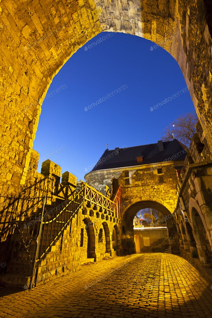 Aachen Ponttor At Night, Germany