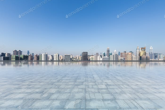 modern city skyline with empty square floor