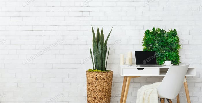 Modern workplace with laptop and plants, empty space