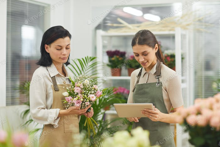 Female Florists Arranging Flowers