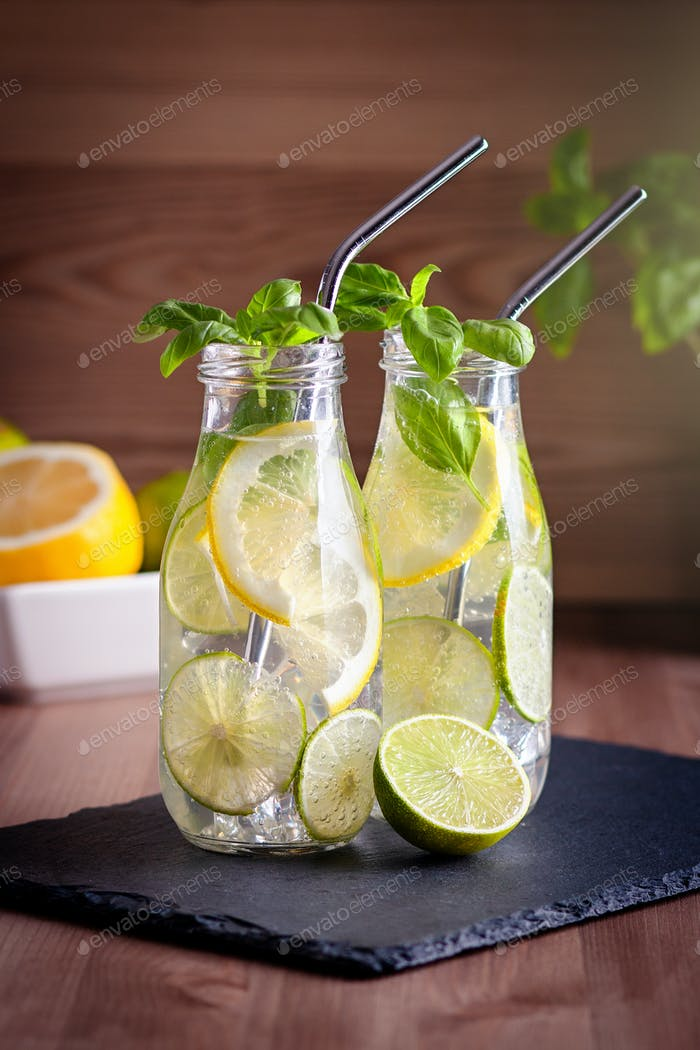 Citrus fruits and basil infused water
