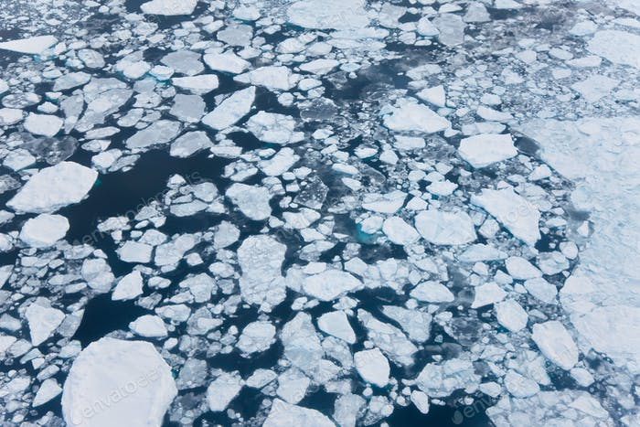 Aeriel view of sea ice, Kulusuk, East Greenland
