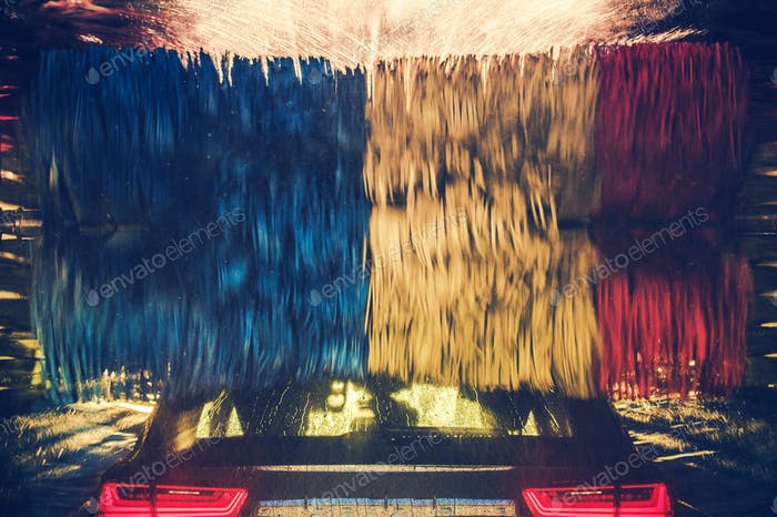 Colorful Car Wash in Action