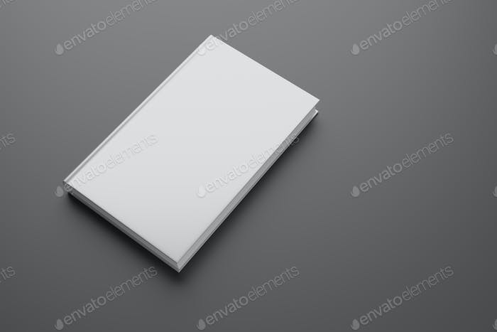 Blank hardcover book on gray background. 3D rendering mock-up.