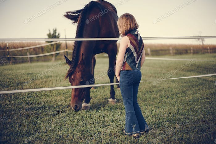 A little girl watching a horse