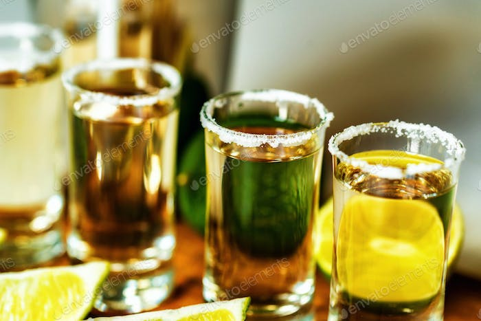 Thumbnail for Tequila with lime and salt, selective focus