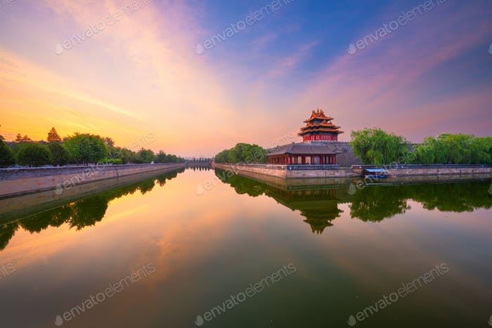 Beijing, China from the Forbidden City Moat
