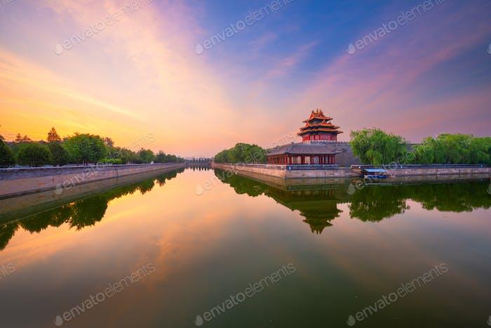 Beijing, China desde el foso de la Ciudad Prohibida