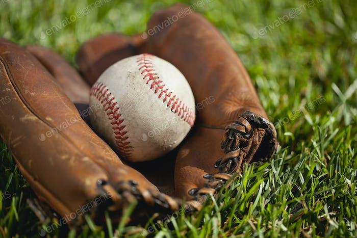 Old Baseball Mitt and Ball on Grass Field
