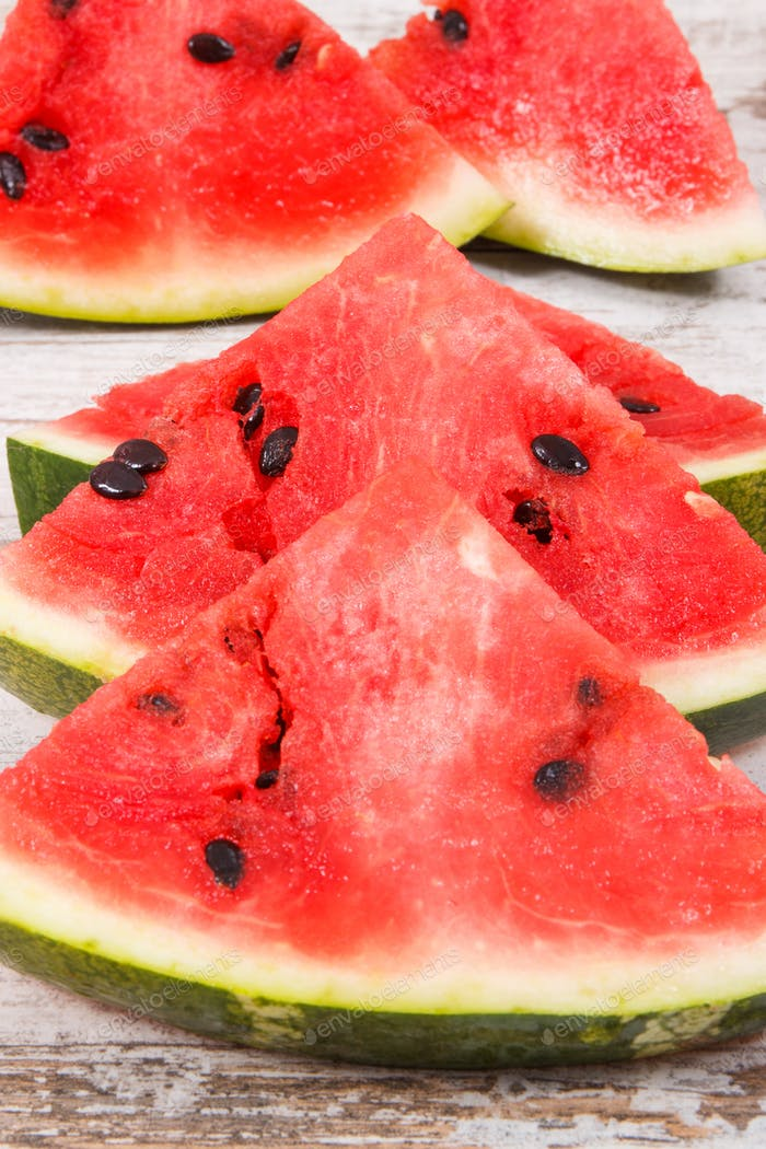 Slice of fresh watermelon, healthy juicy dessert concept