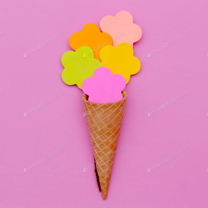 Candy Vanilla Ice Cream. Pink Fashion art. Flatlay Design