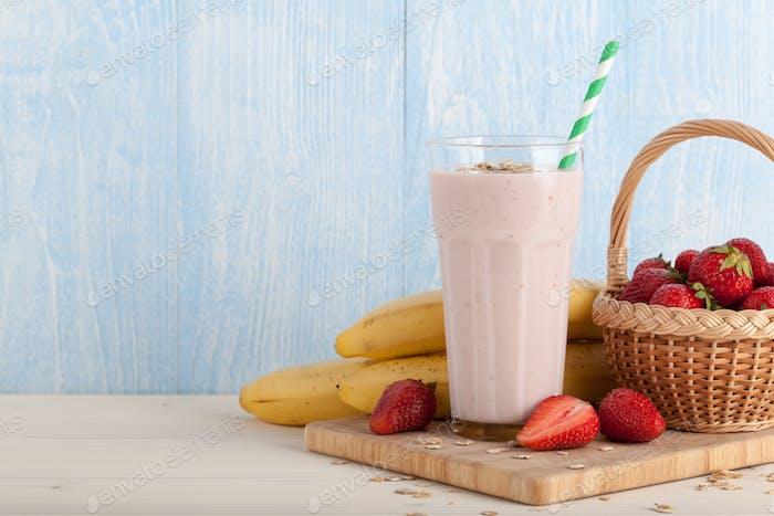 Strawberry-banana smoothie, strawberries and bananas