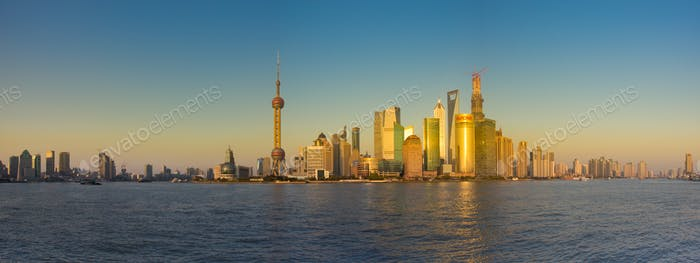 Shanghai skyline with reflection and Pudong