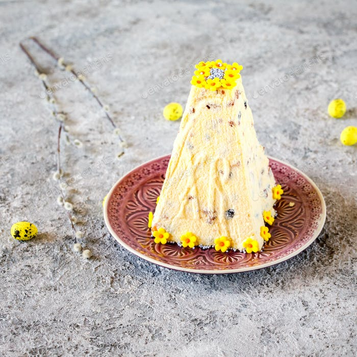 Thumbnail for Easter Orthodox curd cake on a festively decorated background