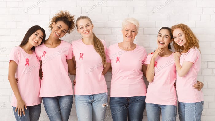 Women In Pink Ribbon T-Shirts Embracing Against White Wall, Panorama