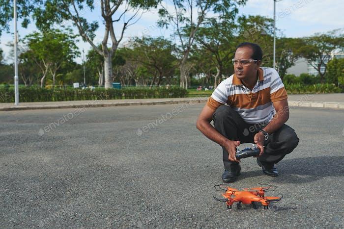Testing quadcoper in park