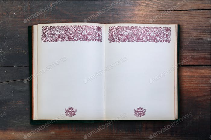 Open vintage book on wooden background