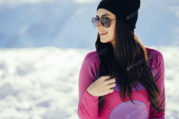 girl near mountains