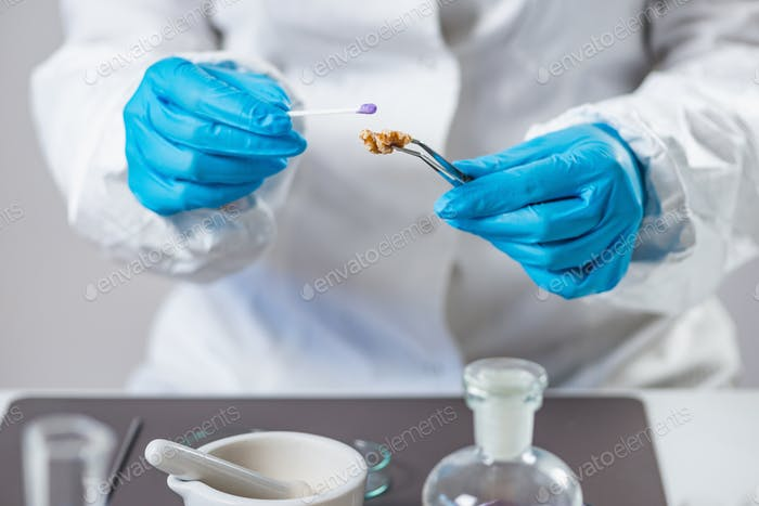 Microbiologist analysing quality of fruits