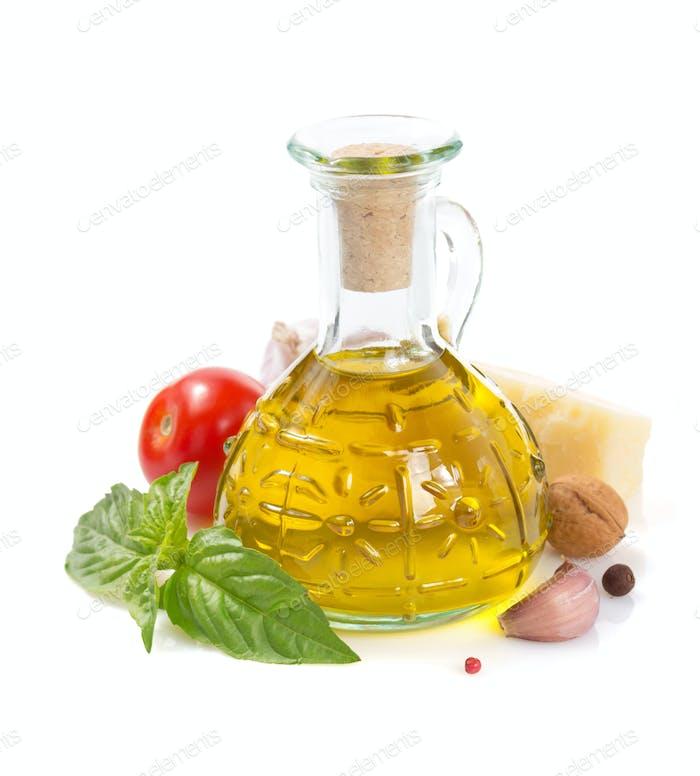 pesto sauce ingredients white background