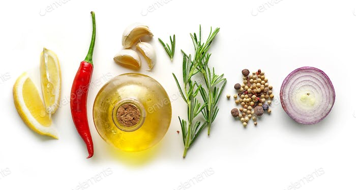 various ingredients for making marinade